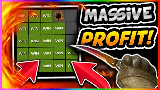 CSGO BETTING: MASSIVE PROFIT! High RISK Minesweeper Betting! (CS GO Gambling Win Reaction SNGMine)