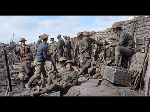 WWI Colouring Footage Of Soldiers (100 Years On) (UK) - ITV News - 9th October 2018