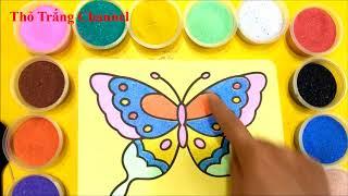 Đồ chơi trẻ em TÔ MÀU TRANH CÁT BƯƠM BƯỚM NGŨ SẮC - BÉ HỌC TÔ MÀU - Learn colors Sand painting toys