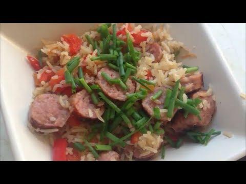 Рецепт Второе Рассыпчатый Жаренный рис с сардельками