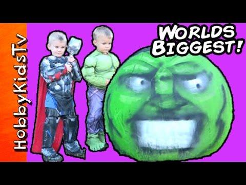 Worlds Biggest Hulk Smash Egg! Surprise TOYS Dinosaur Robot + Sumo HobbyKidsTV