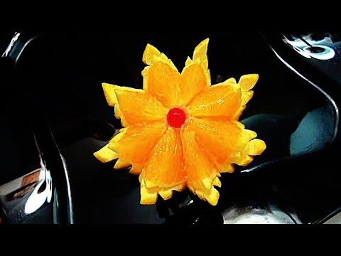 Цветок из апельсина! Flower of orange! Украшения из фруктов! Decoration of fruit!
