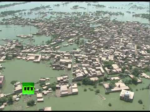 No land to stand: Aerial video of flood, Pakistan under water