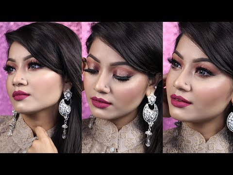 EID MAKEUP 2017 - Bronze Halo Glittery Eyes With Hot Pink Lips - GRWM Indian Wedding Guest Makeup