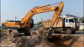 Awesome Construction Equipment Excavator Hyundai 330lc-95 And Truck Dump At Working