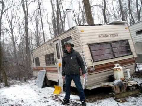 My Off Grid Camper In Winter Snow Storm