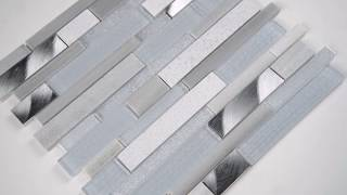 Harlow Interlocking 8mm Gray Glass Wall Tile - 101415239