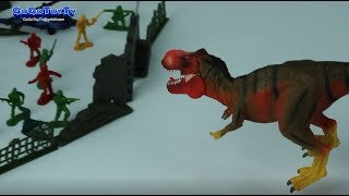 Kids Toy soldiers! Airplane Tanks Soldier VS Dinosaur T-Rex Toys for kids
