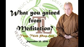 What you gained from Meditation? - Thay. Thich Phap Hoa (Sept.25, 2016)
