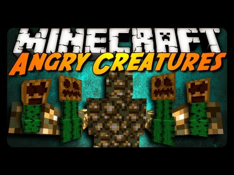 Minecraft Mod Showcase: ANGRY CREATURES MOD! (Glowstone Monster, Mutated Cactus & More!)