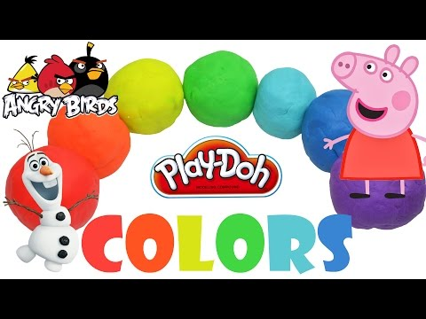 Learn colors Peppa pig play doh surprise eggs frozen angry birds minnie mouse hello kitty