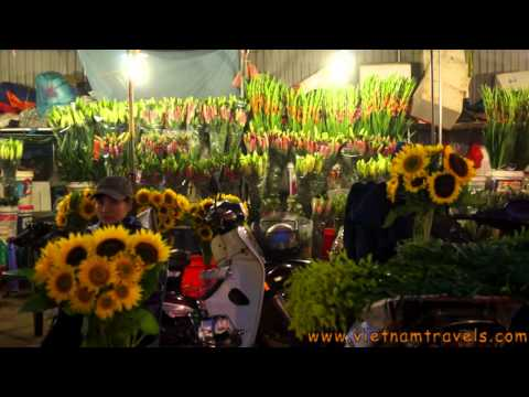 Hanoi Flower Market - authentic Vietnam Daily Life.