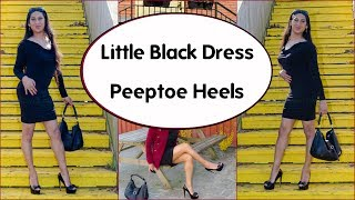 Crossdresser -  little black dress (LBD) and peeptoe stiletto heels | NatCrys