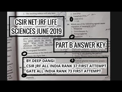 CSIR NET JRF LIFE SCIENCE JUNE 2019 ANSWER KEY PART B