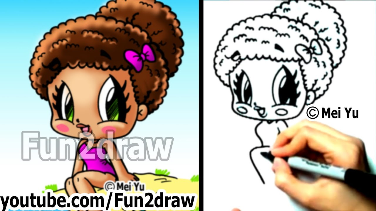How to draw chibi characters cute beach girl fun things for Fun things to draw for girls