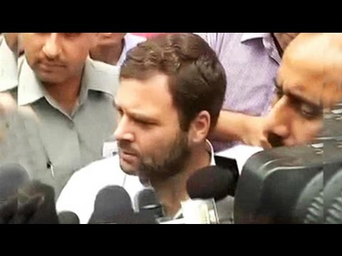 Rahul Gandhi joins protesting Congress MPs in well of Lok Sabha