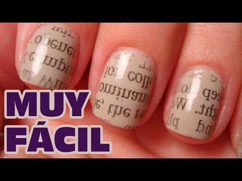 Decorar uñas con periódico MUY FACIL (Uñas decoradas) | Pintar uñas con esma