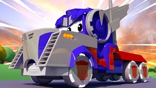 Carl SUPER TRUCK is OPTIMUS PRIME from Transformers!  Tom the Tow Truck's Paint Shop - Car City