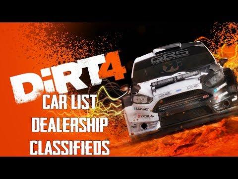 DiRT 4 Car List [Dealership & Classifieds]