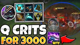 OMG! FULL CRIT NASUS HITS Q AND HEALS TO FULL! (3K DAMAGE CRITS) - League of Legends