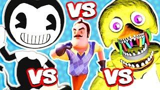 BENDY AND THE INK MACHINE vs HELLO NEIGHBOR vs FNAF (FNAF Nightmare Animatronics Jumpscare Me!!)