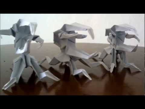 Origami Paper Monsters(bug Warrior, Unicorn Bug, D video