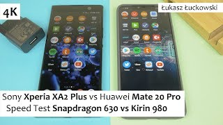 Sony Xperia XA2 Plus vs Huawei Mate 20 Pro  ❗❗❗ | Speed Test |  Snapdragon 630 vs Kirin 980