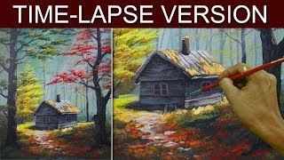 Time-Lapse Version | The Cabin in the Woods | Acrylic Painting by JM Lisondra