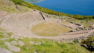 The ancient Theatre of Assos overlooking the Aegean Sea | Turkey