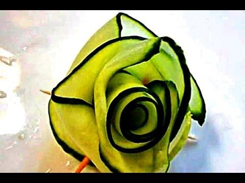 Украшения из овощей. Роза из огурца.   Украшения из огурца. Carving Cucumber.