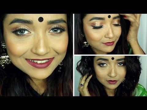 Saraswati Puja Makeup Tutorial 2018 | Festive Bengali Makeup Look For Sari