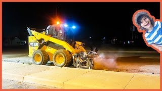 Construction Trucks Working at Night!