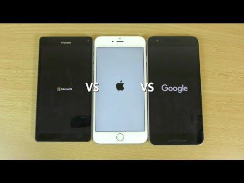 Microsoft Lumia 950 XL VS Apple iPhone 6S+ VS Google Nexus 6P - Speed Test!