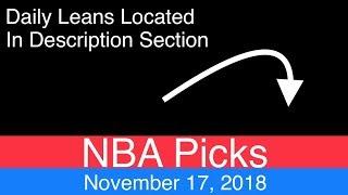 NBA Picks (11-17-18)   Basketball Sports Betting Expert Predictions   Vegas Odds   November 17, 2018