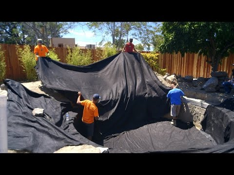Koi Pond Construction   Pond Liner Preparation - Part 24