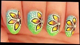 Yellow Flowers on Glittery Ombre nail art