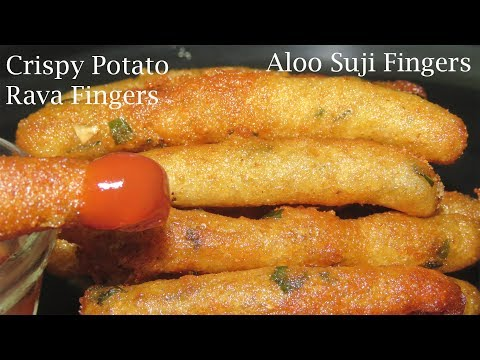 Potato Fingers Recipe in Telugu-Potato Snack Recipe-Aloo Suji Fingers Recipe-Potato Rava Fingers