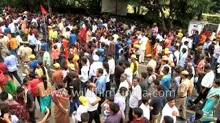 Devotees pull the holy rope of the chariots at Rath Yatra
