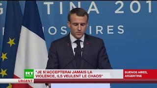 Macron réagit aux Gilets Jaunes : «Les coupables de ces violences ne veulent pas de changement»