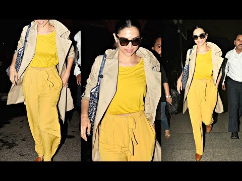 Deepika Padukone Hot In Bright Yellow Airport Look