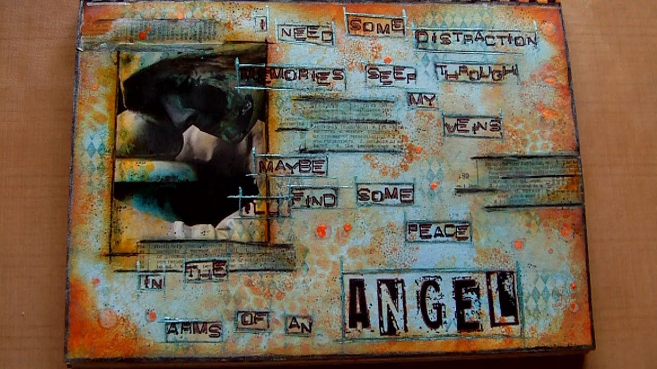 Mixed Media Art Journal Page In The Arms Of An Angel