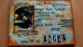 Mixed Media Art Journal Page - In The Arms Of An Angel