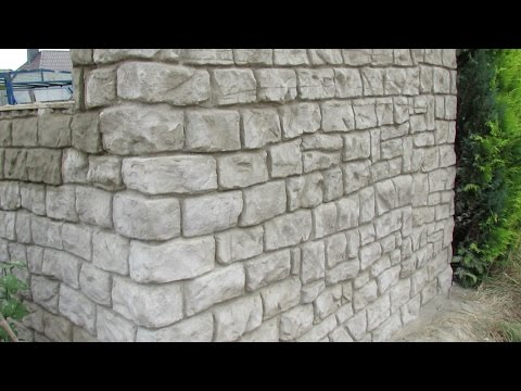 Mauer aus Beton in Steinoptik selber verkleiden .