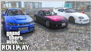 GTA 5 ROLEPLAY - JDM LEGENDS! Nissan R-34 vs Mazda RX-7 vs Toyota Supra | Ep. 263 Civ