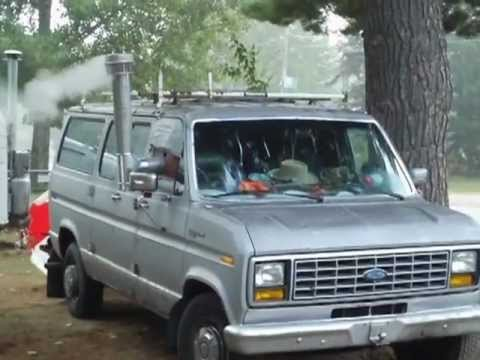 Woodburning Stove installed in my 1983 Ford Van
