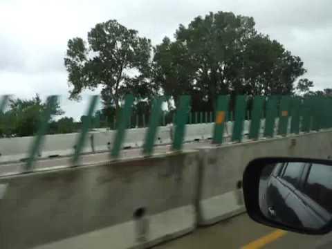 Small military convoy near Missouri river flooding