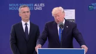 FULL: President Donald Trump Speech NATO Unveiling Of The Article 5 Berlin Wall Memorials 2017 Trump