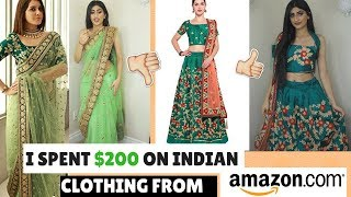 I SPENT 200 ON INDIAN CLOTHING FROM AMAZON TRYING ON CHEAP LEHENGAS AND SAREES