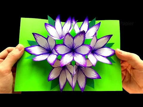 Объёмные цветы из бумаги для открытки своими руками 880