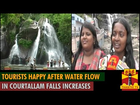 Tourists happy after Water flow in Courtallam Falls Increases - ThanthI TV